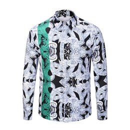 Urban Clothes For Men UK - Mens Casual Shirts Chinese Emperor Clothes Dragon Printed Cotton Shirt Urban Fashion Shirt Designer Shirt For Men Chinese Style Shirts