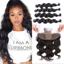 $enCountryForm.capitalKeyWord NZ - Mongolian Human Hair Weave Bundles with Silk Base Frontal Free Part Body Wave Virgin Hair Extensions FDshine