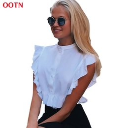 bc1f63ed564bb0 OOTN 2018 Sommer Sleeveless White Tunika Blusen Frauen Rüschen Button-Down Crop  Tops Weibliche Kurze Shirts Damen Büro Mode