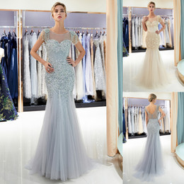 Wholesale 100 Real Pictures Mermaid Evening Dresses Luxury Beaded Sheer Neck Designer Formal Occasion Wear Tulle Sweep Train Prom Party Gown CPS1161