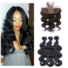 black weaves Canada - Indian Human Hair Weaves With Silk Base Frontal Closure Top Quality Virgin Body Wave Hair Bundles With Lace Frontal