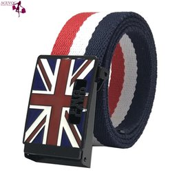 Wholesale Men Pattern Hidden Buckle Russian Belts Metal Pattern Belts Striped Blue British Red Casual Canvas White Clasp