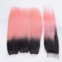 $enCountryForm.capitalKeyWord Australia - Black Roots 1B Pink Ombre Straight Closure with Bundles 1B Rose Gold Ombre Indian Human Hair Wefts and Top Closure