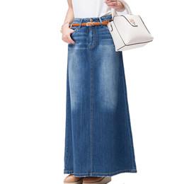 Envío gratis 2018 nueva moda largo Casual Denim Falda primavera A-line más  tamaño S-2XL largo faldas largas para mujeres Jeans faldas 2dc38a6a8779