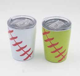 Chinese  8.5oz Mini Tumbler Baseball softball kids cups wine glasses Stainless Steel Travel Beer Mug with straws sport cups no Vacuum Insulated manufacturers