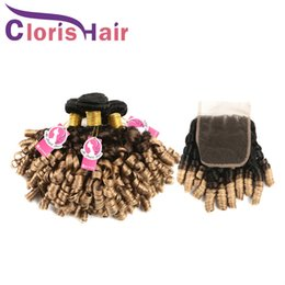 Discount blonde mongolian curly hair - Raw Indian Virgin Curly Ombre Hair Extensions Nigeria Aunty Funmi Human Hair Bundles With Lace Closure 1B 4 27 Blonde Om