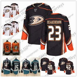 25801943dc3 Anaheim Ducks  23 Francois Beauchemin 40 Jared Boll 42 Josh Manson 2018 NEW  Brand Black Orange White Stitched Ice Hockey cheap Jerseys S-60
