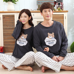 f5683bcef0 2017 Spring Women Pyjamas Full Sleeved Couple Pajama Sets Carton Men Pijamas  Female Sleepwear Nightgrown For Lovers Striped Pant