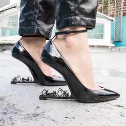 Black Patent Leather High Heels Zapatos Mujer Strange High Heels Pointy Toe  Women Pumps Ankle Strap Dress Party Wedding Shoes 791c8918e26e