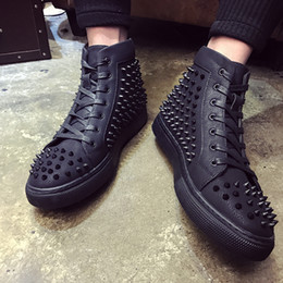 Wholesale MBSn998X Size Men Women Black Sand Net With Spikes High Top Lace Up Red Bottom Fashion Sneakers Unisex Brand Comfortable Casual Shoe