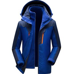 Discount winter skate clothing - 2018 winter mountaineering suit couples jacket three-in-one ski suit outdoor clothing jacket men