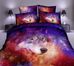 king size 3d galaxy bedding 2019 - 3D Animal Bedding Set Wolf Bedding Galaxy Starry Sky Sets King Size Cotton Bed Sheet Sets Pillow Cover39 discount king s