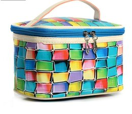 $enCountryForm.capitalKeyWord NZ - Hot Sale Square Cosmetic Bag PU colorful Soft Women Makeup Toiletry Storage Beauty Organizer Case Pouch