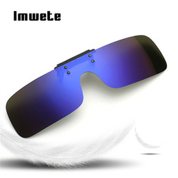69d78938653 Imwete Glasses Siamese Polarized Clip on Sunglasses Men Women Night Vision  Safe Driving Flip Up Myopia Glasses UV400 Eyewear