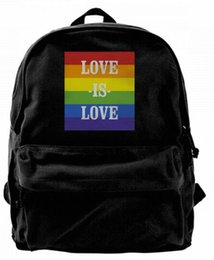 $enCountryForm.capitalKeyWord UK - Love is Love Retro Rainbow Gay Lesbian Fashion Canvas Best Backpack Unique Camper Backpack For Men & Women Teens College Travel Daypack