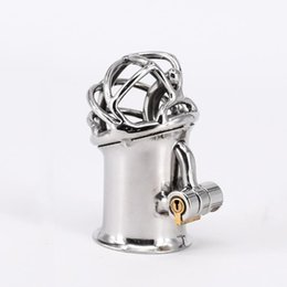 piercing chastity device 2019 - New Arrival PA Lock Male Chastity Cage Stainless Steel Chastity Device Sex Toys For Men Glans Puncture Genital Piercing
