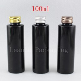 Oil Container Plastic NZ - 100ml X 50 Empty Plastic Black Bottles Aluminum Screw Cap Travel Lotion Container Packaging For Cosmetics Shampoo Perfume Oil