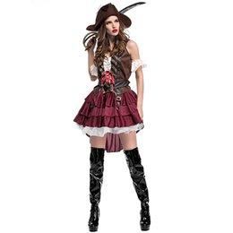 Wholesale pirate costumes women online – ideas Carnival Cosplay Pirate Outfits Costume for Women Halloween Sleeveless Luxury Cosplay Festival Somalia Pirate Uniform with Hat