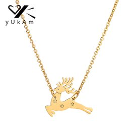 $enCountryForm.capitalKeyWord NZ - YUKAM New Silver Gold Stainless Steel Santa Claus Animal Sika Deer Elk Pendant Necklaces for Women Party Christmas Jewelry Gifts