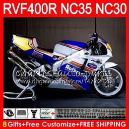 blue rothmans honda fairings NZ - RVF400R For HONDA VFR400 R NC30 V4 VFR400R 89 90 91 92 93 82HM44 RVF VFR 400 R NC35 VFR 400R 1989 1990 1991 1992 1993 Fairings Rothmans Blue