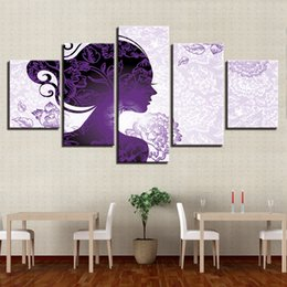 Discount modern canvas art purple flower painting - Modern Decor Living Room HD Printed 5 Pieces Beautiful Purple Woman And Flower Paintings Poster Modular Canvas Pictures