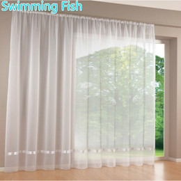 Piece curtains online shopping - Price By Piece Quality White All match Window Screens Curtain Tulle Sheer Curtian Solid Voile Curtain With Ribbon