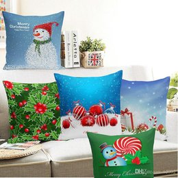 Discount happy new years - Snowman Cushion Cover Happy New Year Gift Christmas Pillowcase Socks Snow Printed Pillow Case Eco Friendly Home Textiles