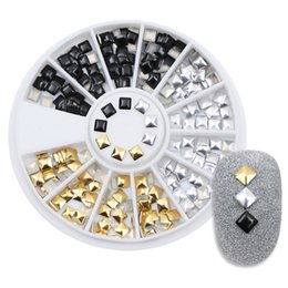 $enCountryForm.capitalKeyWord NZ - 1 Box Square Rivet Nail Studs Rhinestones 3mm Flat Bottom Gold Silver Black Decoration In Wheel Manicure 3D Nail Art Decoration