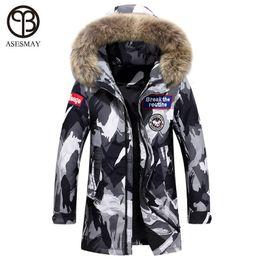 5db02234311d7 Discount black fur coat men hood - Asesmay luxury mens fashion down jacket  men winter coat
