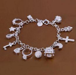 Wholesale 925 Silver Bracelets Cheap Australia - 2018 New Fashion cheap plating 925 Sterling Silver CZ Crystal gemstone fashion jewelry cross moon charms Wedding bracelet