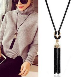long silver knot necklace NZ - Vintage Black Tassel Knotted Necklaces Pendants Long Sweater Chain Charms Statement Choker For Women Jewelry Girls Bijoux Accessories