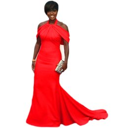 China 2019 Red mermaid Evening Gowns Plus Size Halter Satin Off Shoulder Prom Dresses Sweep Train Black girl Women Formal Party Dress Custom Made suppliers