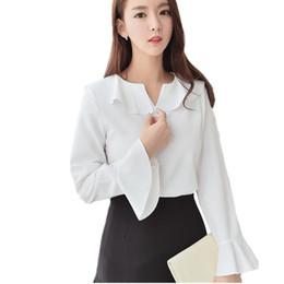B3244 Spring autumn 2018 new women wear slim long sleeve chiffon shirt  sweet lady blouse with lotus leaf edge cheap wholesale a878342a7962