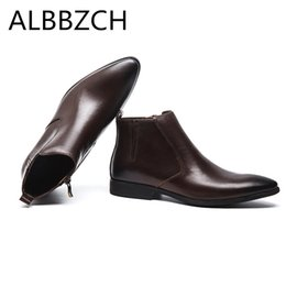 New pointed toe genuine leather men boots autumn winter mens ankle boots  shoes men high quality daily work man black brown 5d403a636f80