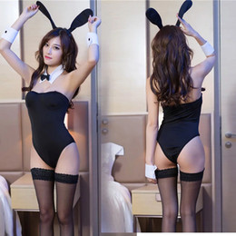 porn women costume 2019 - Adult Women Sexy Black Bunny Girl Costume Erotic Bodysuit Romper Ears Set Cos Porn Games Corset Strap Outwear Outfit For
