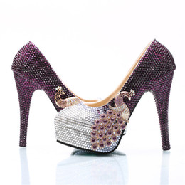 cc3d1420dcfb Plus Size Lady Party Prom Shoes Purple and Silver Mix Color Rhinestone  Wedding High Heels Bride Formal Dress Shoes Custom Made