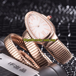 double rose black white Australia - Luxry Serpenti Tubogas 103002 White Dial Swiss Quartz Womens Watch Rose Gold Diamond Case Double loop Bracelet Fashion Lady Designer Watches