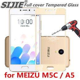 Wholesale Full cover Tempered Glass for MEIZU M5C Charm Blue A5 MEIZUA5 M5 C phone Screen Protective toughened on frame edges covers case