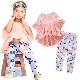 Floral Print Shirts Baby NZ - Cute Princess Kids Baby Girls Dress Ruffles Butterfly Sleeve Irregular Tops T shirt and Floral Printed Pants Outfits Set