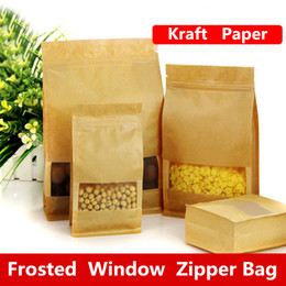 heat sealing food bags Australia - 14x24x6cm Large capacity stand frosted matte window showcase kraft paper food packaging bag candy pastry tea ziplock heat seal package pouch