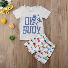 $enCountryForm.capitalKeyWord NZ - Baby kids boys clothes cartoon gray pirate T-shirt+cars shorts 2pcs Set outfit clothing baby boy casual sport toddler summer boutique 1-6Y