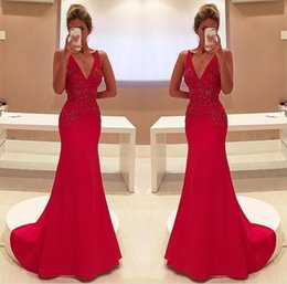 $enCountryForm.capitalKeyWord Australia - Sparkly Unique Red Two Straps V-Neckline Sleeveless With Appliques Long Prom Dress 2018
