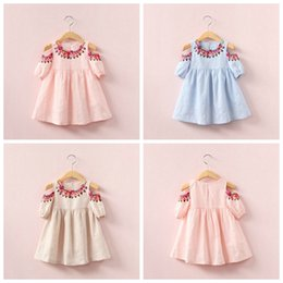 Discount striped organza dress - New baby girls folk-custom Flower dress summer cotton Children printing Strapless dresses Kids Clothing top quality