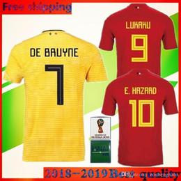 2018 world cup Belgium E.HAZARD Soccer Jersey national team Home red away  yellow KOMPANY DE BRUYNE FELLAINI LUKAKU Belgique football shirt 96d8f0fe1
