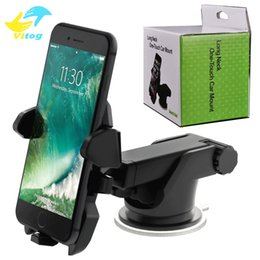 Wholesale Retractable Car Mount Phone Holder Easy One Touch Universal Holders Suction Cup Cradle Stand For iPhone X Plus Samsung S8 s9 plus
