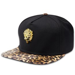 9e9d56d1034 Men Women Lovers Hip-hop Leopard Cotton Snapback Caps Lion Alloy Logo  Popular Fashion Cool Street Acid Rock Adjustable Hats inexpensive leopard  flat cap