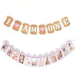 wedding photo set UK - Set of 2 Baby Girl First Birthday Decorations Banner I AM ONE and 1-12 Months Photo Rope Banner First Birthday Garland Wedding Ceremony