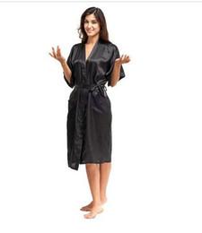 0d40f7afec Wholesale- High Quality Black Women Silk Rayon Robe Sexy Long Lingerie  Sleepwear Kimono Yukata Nightgown Plus Size S M L XL XXL XXXL A-050