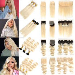 1b 613 closure online shopping - Brazilian Straight Virgin Hair Blonde Bundles with Lace Frontal Ear to Ear Peruvian B Body Wave Human Hair Bundles with Closures