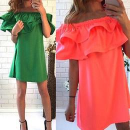 Ruffle Dress Green Women Canada - Wholesale Woman Sexy Dress Casual Mini Dresses Slash Neck A-Line Petal Sleeve Ruffle Collar Summer Green Orange